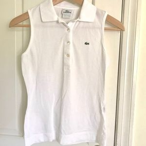 Lacoste White Sleeveless Pique Polo Shirt 34 0-2